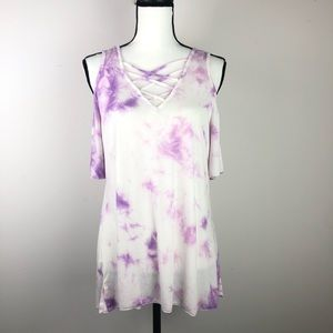ANDREE By UNIT purple tie dyed cold shoulder shirt